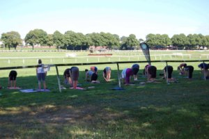 Yoga in the sun at Worcester Racecourse