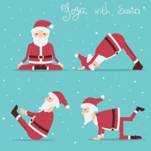 Santa's yoga poses gift card